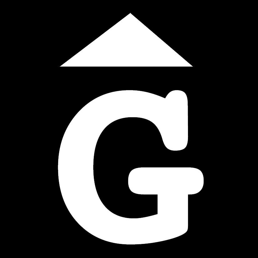 G amb triangle logo mobles Gifreu blanc fons negr