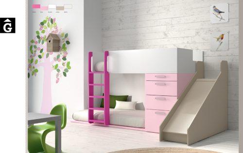 Llitera tobogan rosa-infinity-muebles-jjp-by-mobles-gifreu-llits-de-nado-infantil-juvenil-singel-disseny-actual-qualitat
