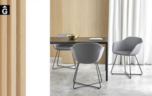 Cadires Taia amb pota patí creuat | Inclass cadires tamborets i taules | mobles Gifreu