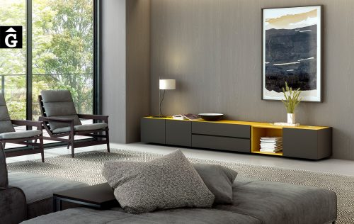 Moble Tv laca mate antracita i mostassa | Area One | mobles Ciurans | mobles Gifreu