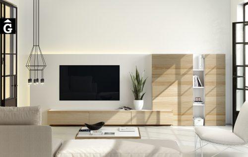 Composició moble Tv Area | Xapa Roure natural i laca blanca | mobles Ciurans | mobles Gifreu