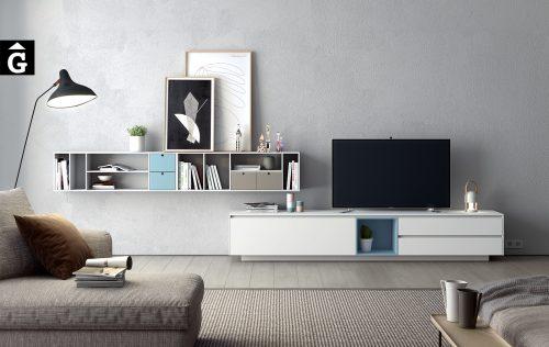 Moble Area Tv laca mate blanca, blava i sorra   Programa de mobiliari Area   mobles Ciurans   mobles Gifreu