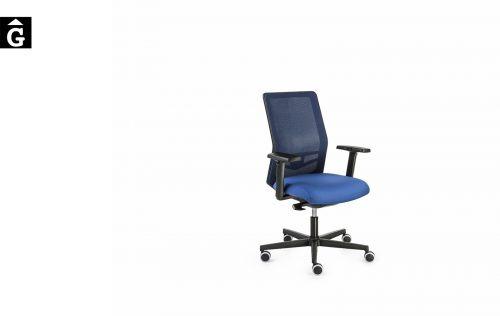 Cadira oficina Equis Negre i blau   Vista Perfil   Dile   mobiliari d'oficina molt interessant   mobles Gifreu   botiga   Contract   Mobles nous oficina