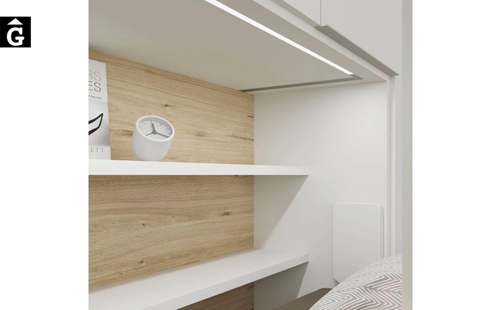 Habitació estudi amb armari llit abatible | Detall interior caixa llit | Up & Down | llits abatibles | Pràctics, saludables i segurs | Jotajotape | mobles Gifreu