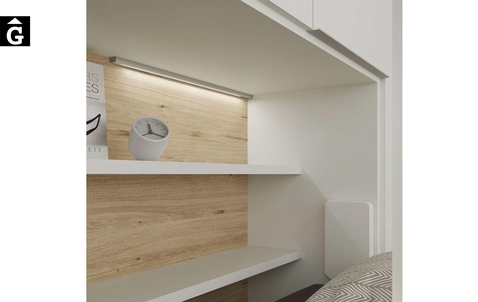 Habitació estudi amb armari llit abatible | Detall llum superficie | Up & Down | llits abatibles | Pràctics, saludables i segurs | Jotajotape | mobles Gifreu