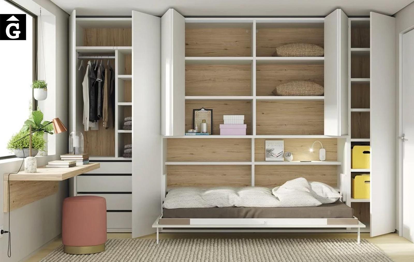 Habitació estudi amb armari llit abatible | Interior armari vist | Up & Down | llits abatibles | Pràctics, saludables i segurs | Jotajotape | mobles Gifreu