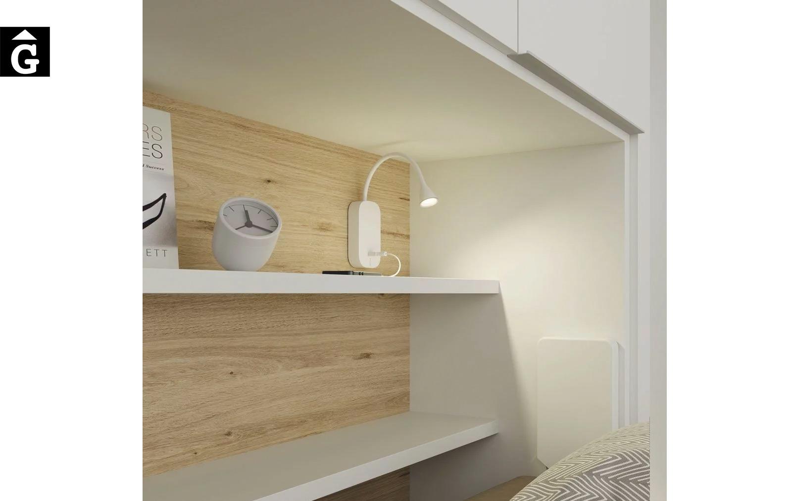 Habitació estudi amb armari llit abatible | detall làmpara led | Up & Down | llits abatibles | Pràctics, saludables i segurs | Jotajotape | mobles Gifreu