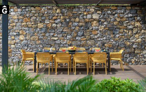 Taula Rio Alu i Cadira Net Senape | Nardi | mobiliari d'exterior amb disseny i a preus perfectes