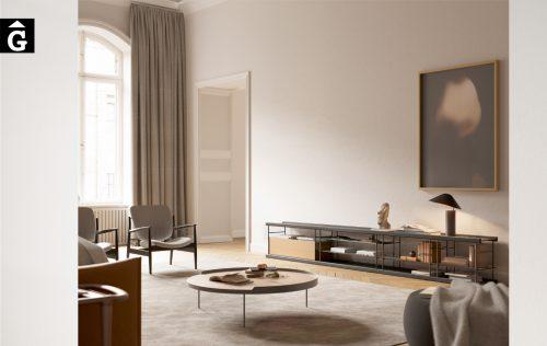 Moble Tv Bost lleuger | Fusta i metall | Sistema modular estanteria Bost dissenyat per Yonoh | Treku | mobles contemporanis amb tradició | mobles Gifreu