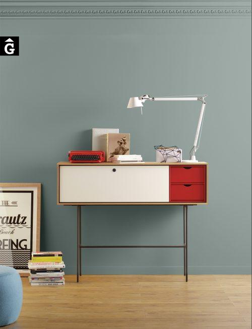 Aura consola xapa roure, laca blanca i vermella MUEBLES TREKU Kontainer by mobles Gifreu. Consola S8,5 laca blanca i vermella. 132*106