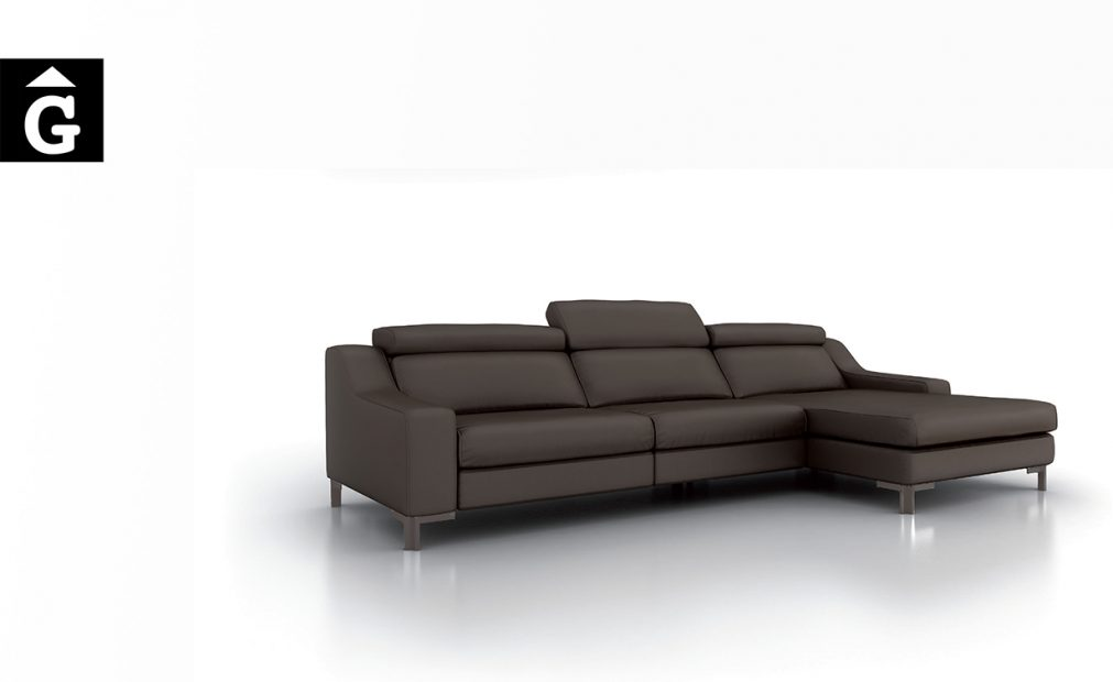 Sofà chaiselongue Oki black Moradillo by MOBLES GIFREU