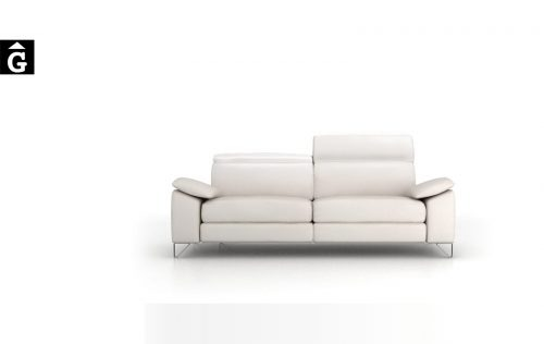 Sofà relax elèctric Gami tapissat en pell blanca Moradillo distribuïdor mobles Gifreu Girona