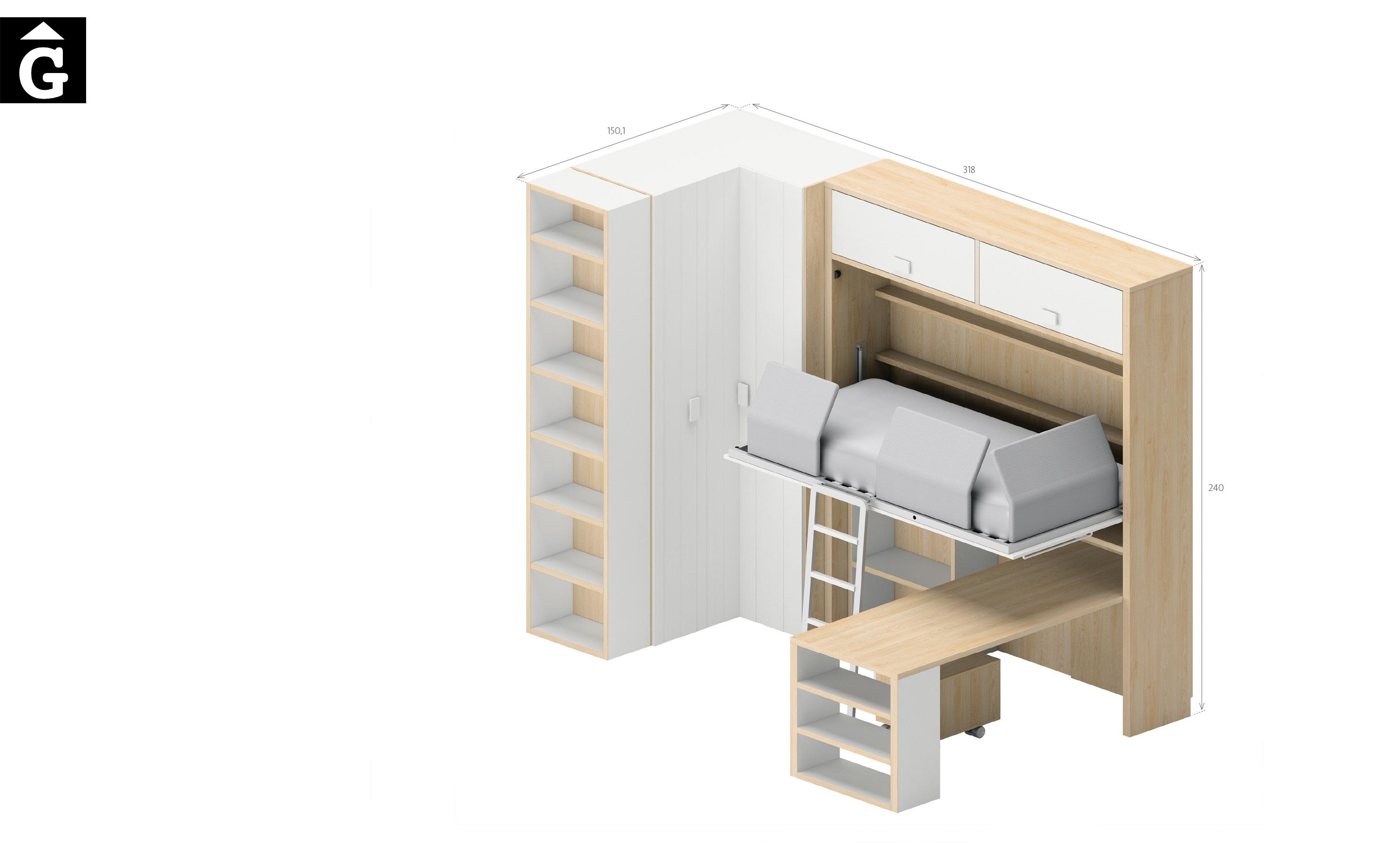 Copenhague llit plegable alt obert croquis Lagrama by mobles Gifreu