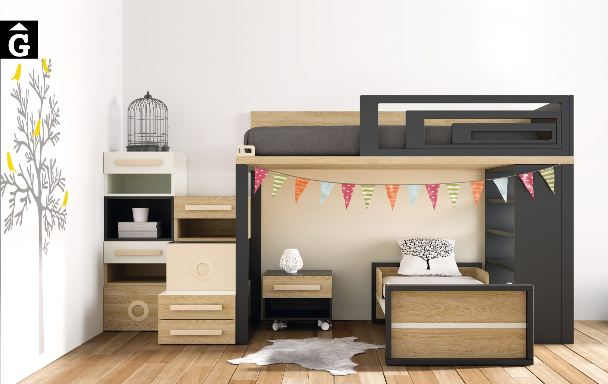 Lagrama llitera VIENA habitacions juvenils by mobles Gifreu Porqueres Girona