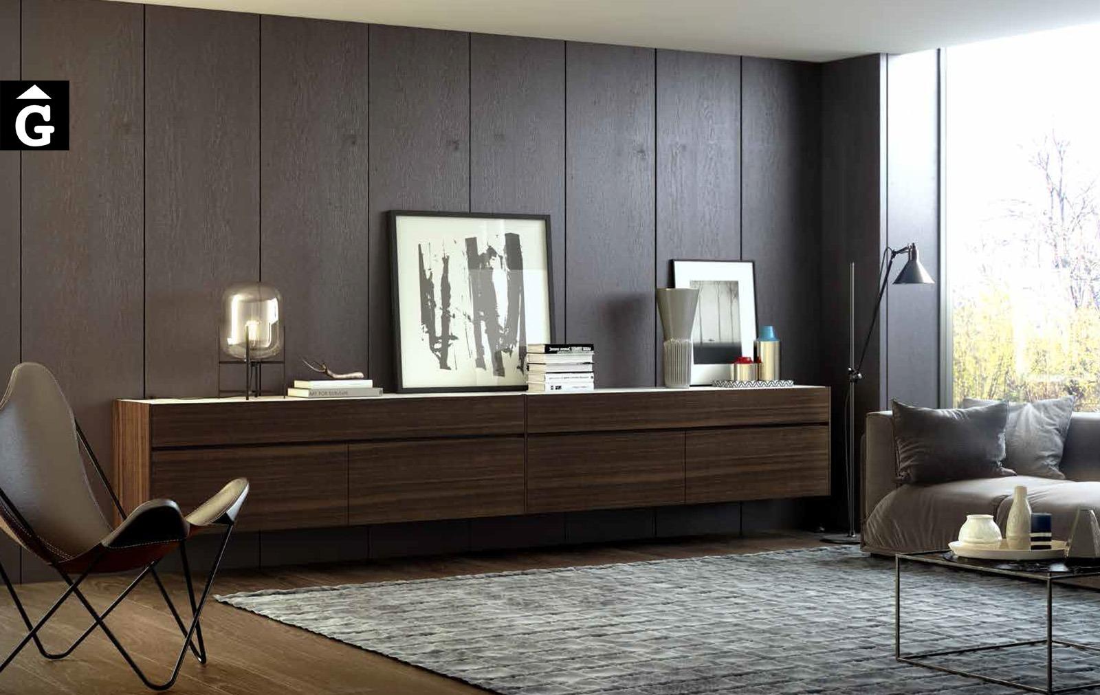 Aparador penjat a paret panelada Eucalipto Area mobles Ciurans per mobles Gifreu programa modular disseny atemporal realitzat amb materials i ferratges de qualitat estil modern minimal