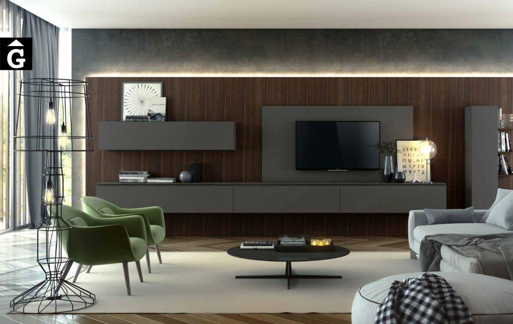 Composició moble menjador Televisió Area mobles Ciurans per mobles Gifreu programa modular disseny atemporal realitzat amb materials i ferratges de qualitat estil modern minimal