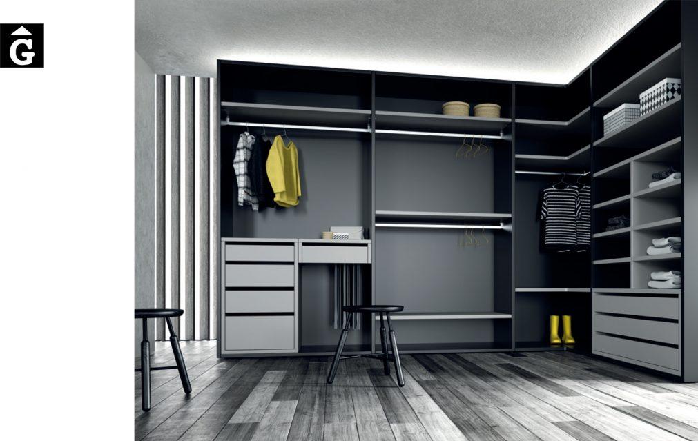 Vestidor acabats Vulcano i gris JJP NoLimits by Mobles GIFREU Girona Armaris a mida modern minim elegant atemporal