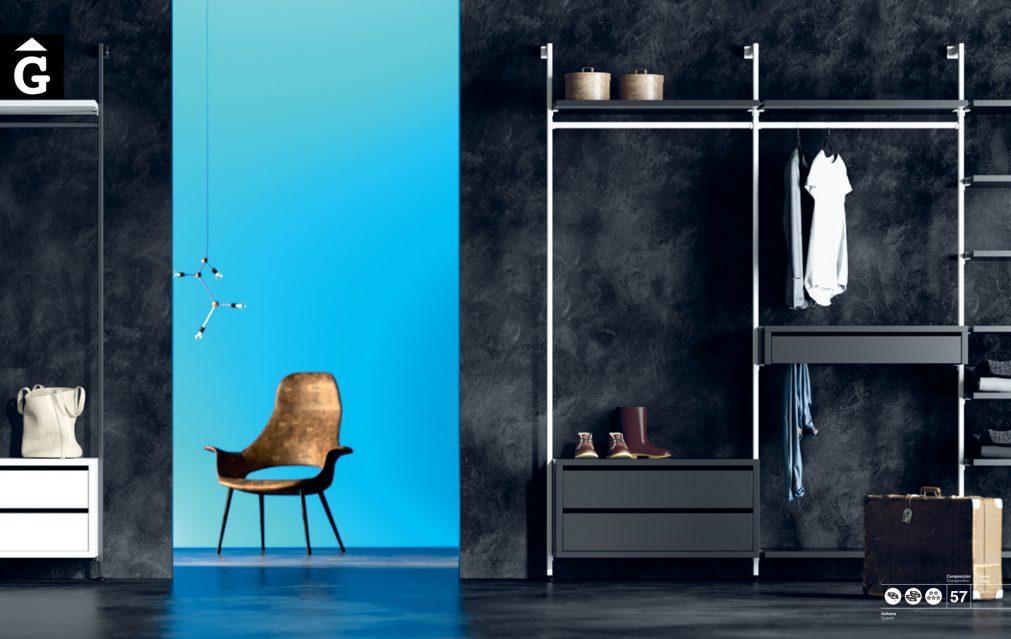 Vestidor suports metàlics quadrats VulcanoJJP NoLimits by Mobles GIFREU Girona Armaris a mida modern minim elegant atemporal