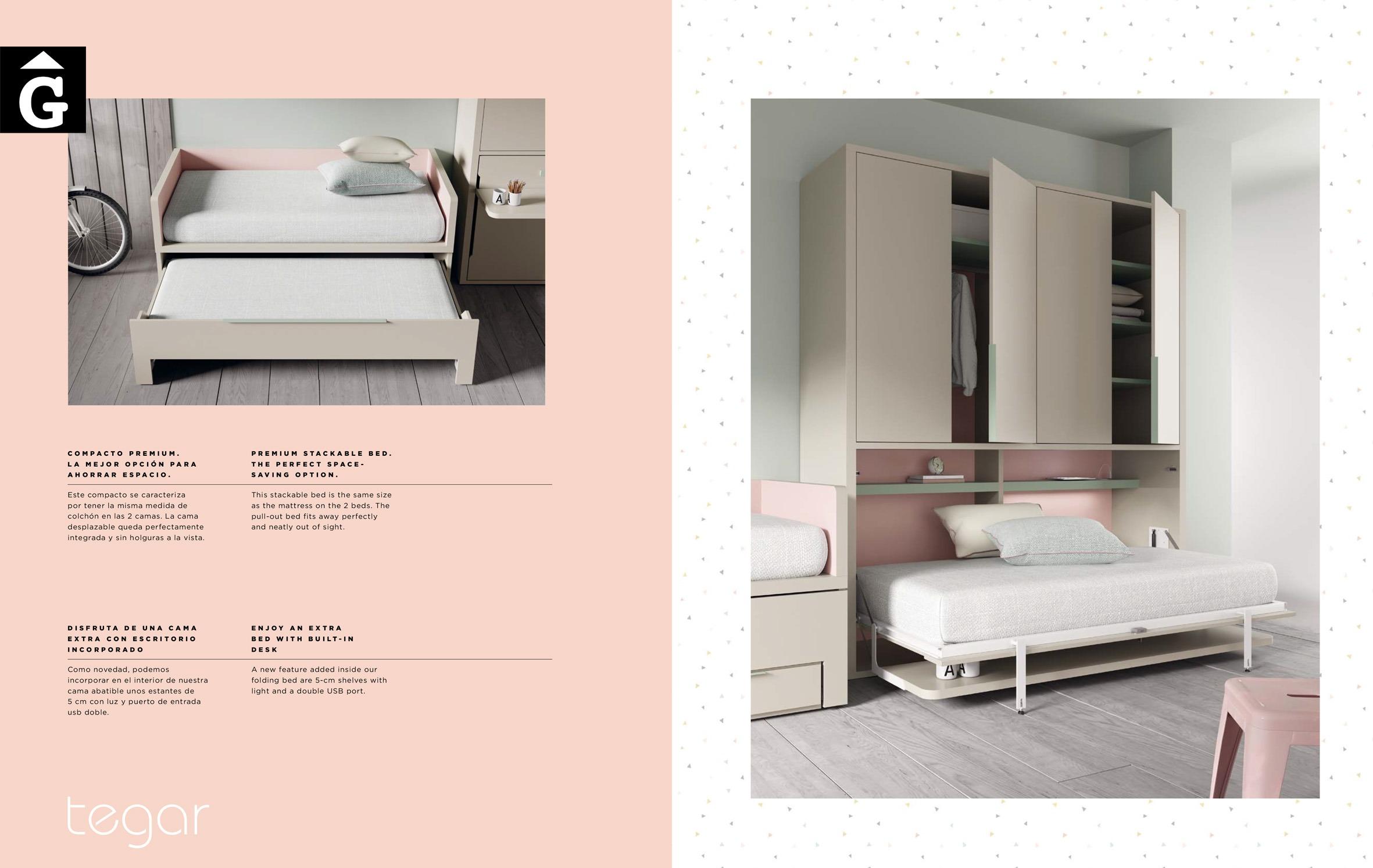 Llit i escriptori abatible amb llit lliscant QB NEXT Tegar by nobles GIFREU Girona modern minim elegant atemporal