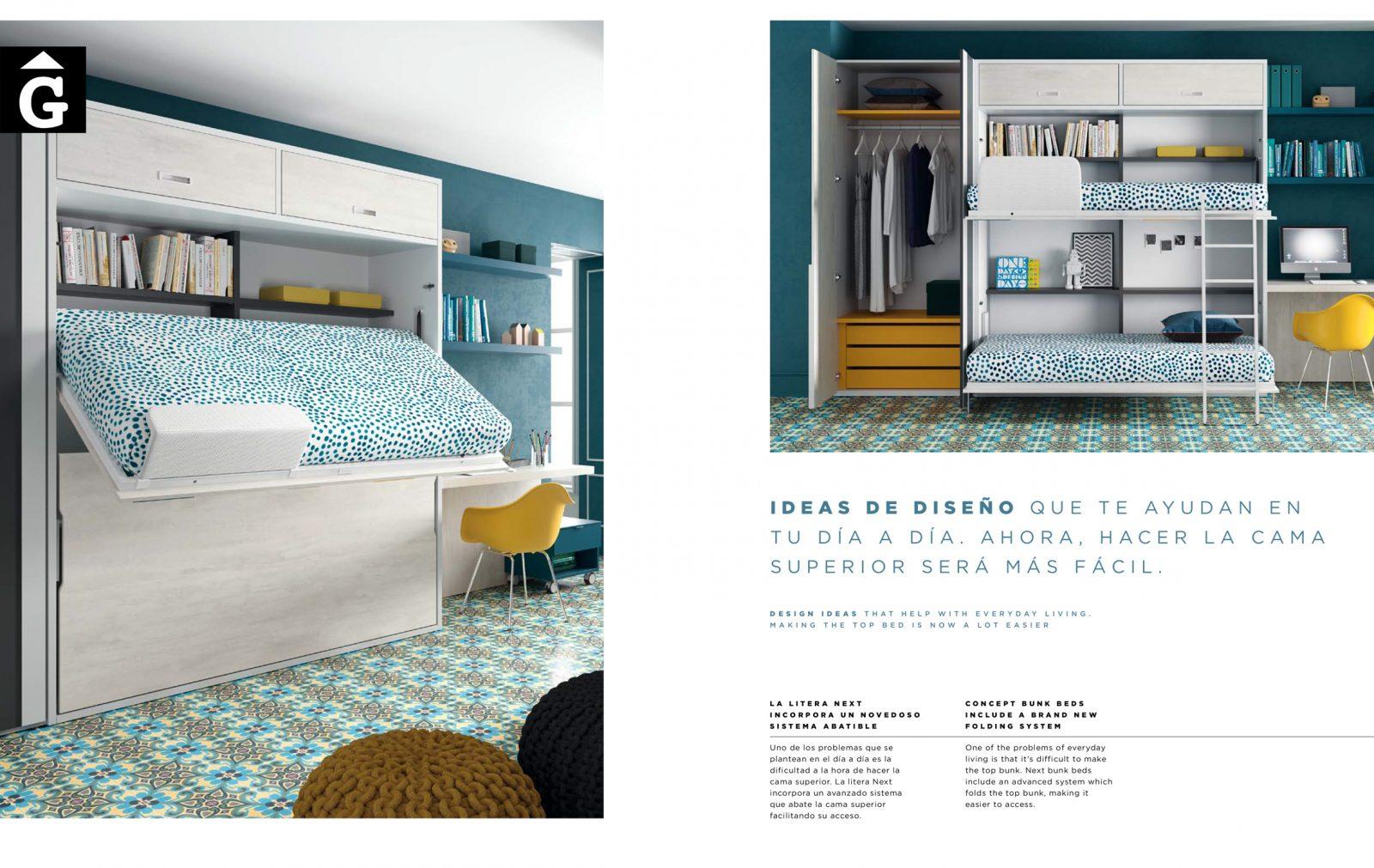 Llitera plagable amb llit de dalt apunt per fer el llit QB NEXT Tegar by nobles GIFREU Girona modern minim elegant atemporal