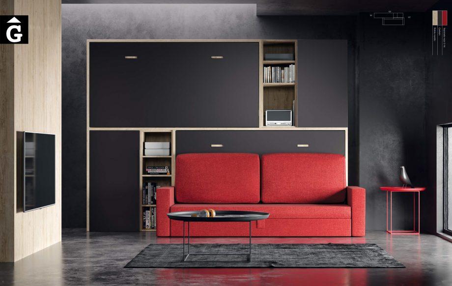 Sala loft amb llits abatibles Qbn 17 Sofà llit abatible QB NEXT Tegar by nobles GIFREU Girona modern minim elegant atemporal