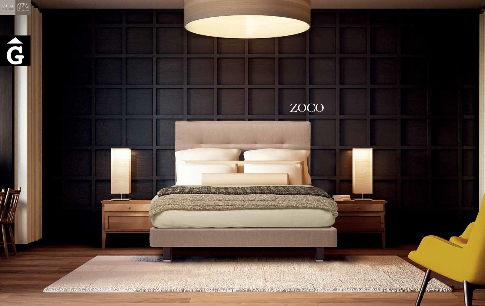 Zoco llit entapissat collection Beds Astral Nature descans qualitat natural i salut junts per mobles Gifreu