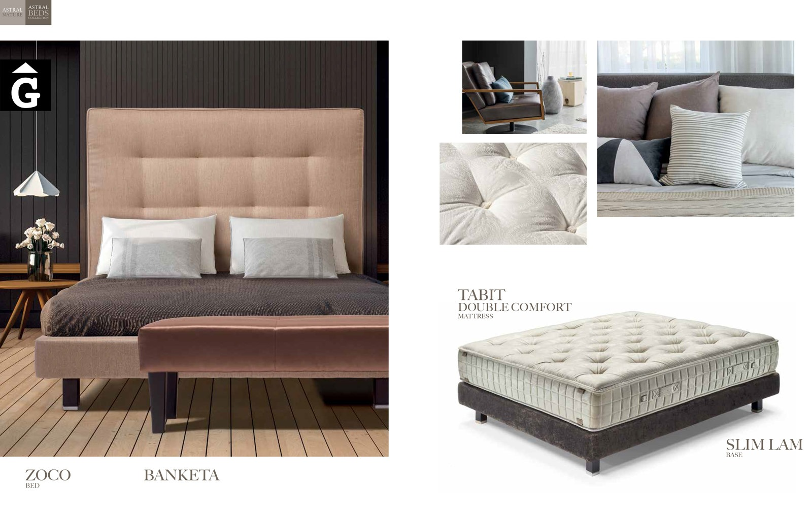 Zoco llit entapissat Beds Astral Nature descans qualitat natural i salut junts per mobles Gifreu