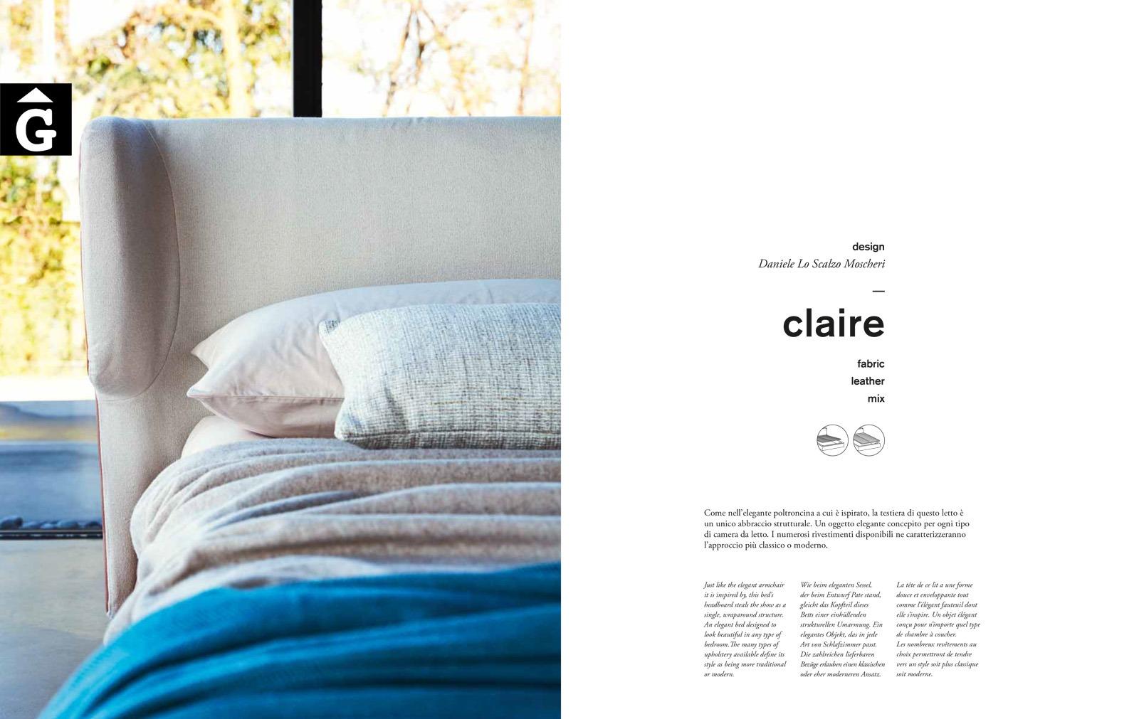 Claire llit entapissat - Ditre Italia llits entapissats disseny i qualitat alta by mobles Gifreu