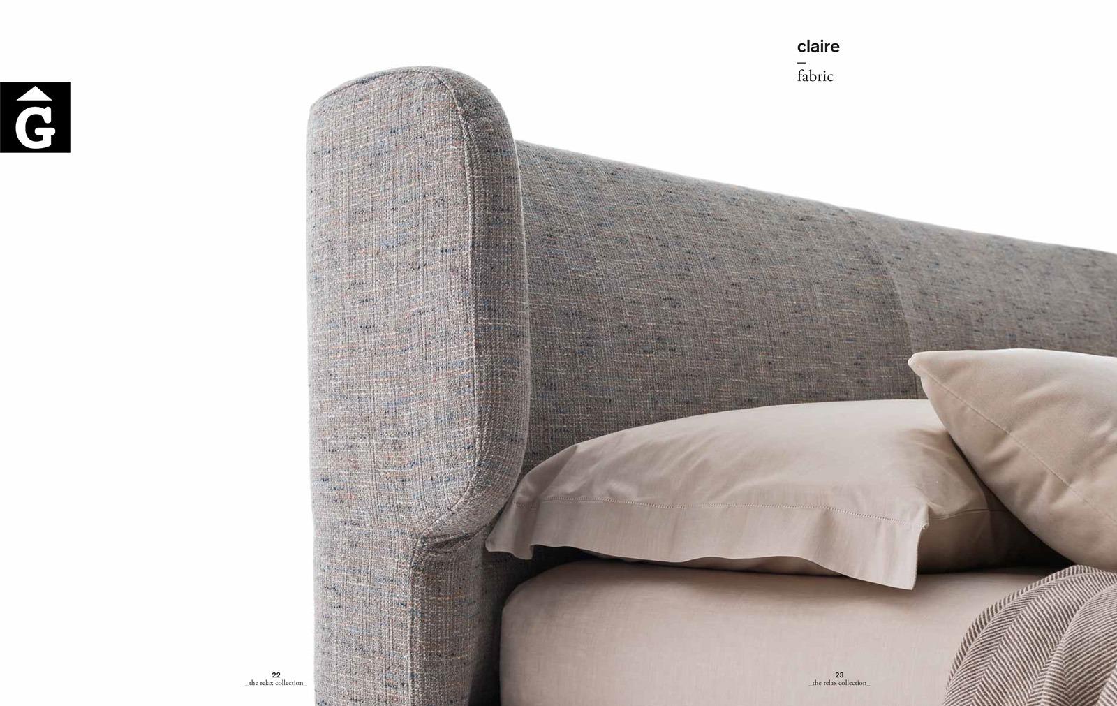 Claire llit entapissat detall - Ditre Italia llits entapissats disseny i qualitat alta by mobles Gifreu