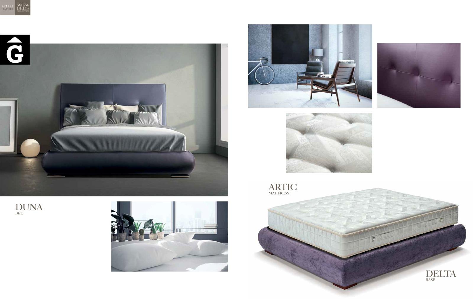 Duna llit entapissat detalls Beds Astral Nature descans qualitat natural i salut junts per mobles Gifreu