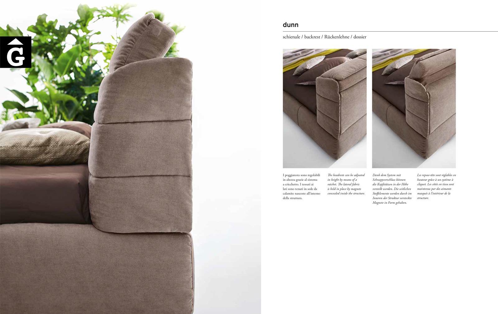 Dunn detall llit – Ditre Italia llits entapissats disseny i qualitat alta by mobles Gifreu