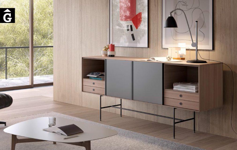 Aura Slide Nogal Treku Home by mobles Gifreu Portes lliscants a la part central moble bufet.