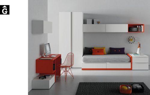 Llit calaixos Infinity 02 Blanc Orange Jotajotape jjp by mobles Gifreu