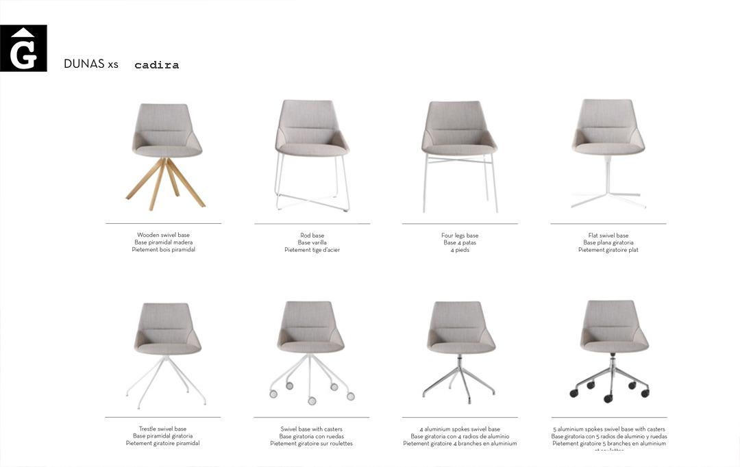 Cadira Dunas XS recull de totes les diferents opcions de peu Inclass mobles Gifreu