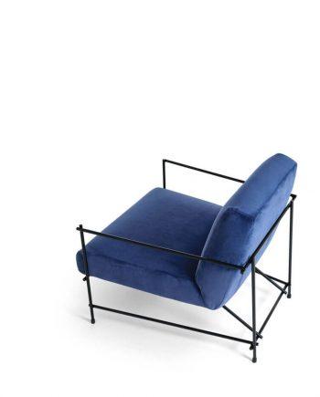 Butaca Kyo Ditre Italia entapissada blava vista del darrera - Ditre Italia Sofas disseny i qualitat alta by mobles Gifreu