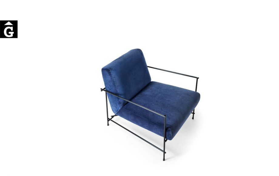 Butaca Kyo entapissada blava - Ditre Italia Sofas disseny i qualitat alta by mobles Gifreu