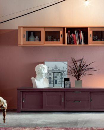 Moble Tv amb vitrina massis roure Devina Nais V2 by mobles Gifreu
