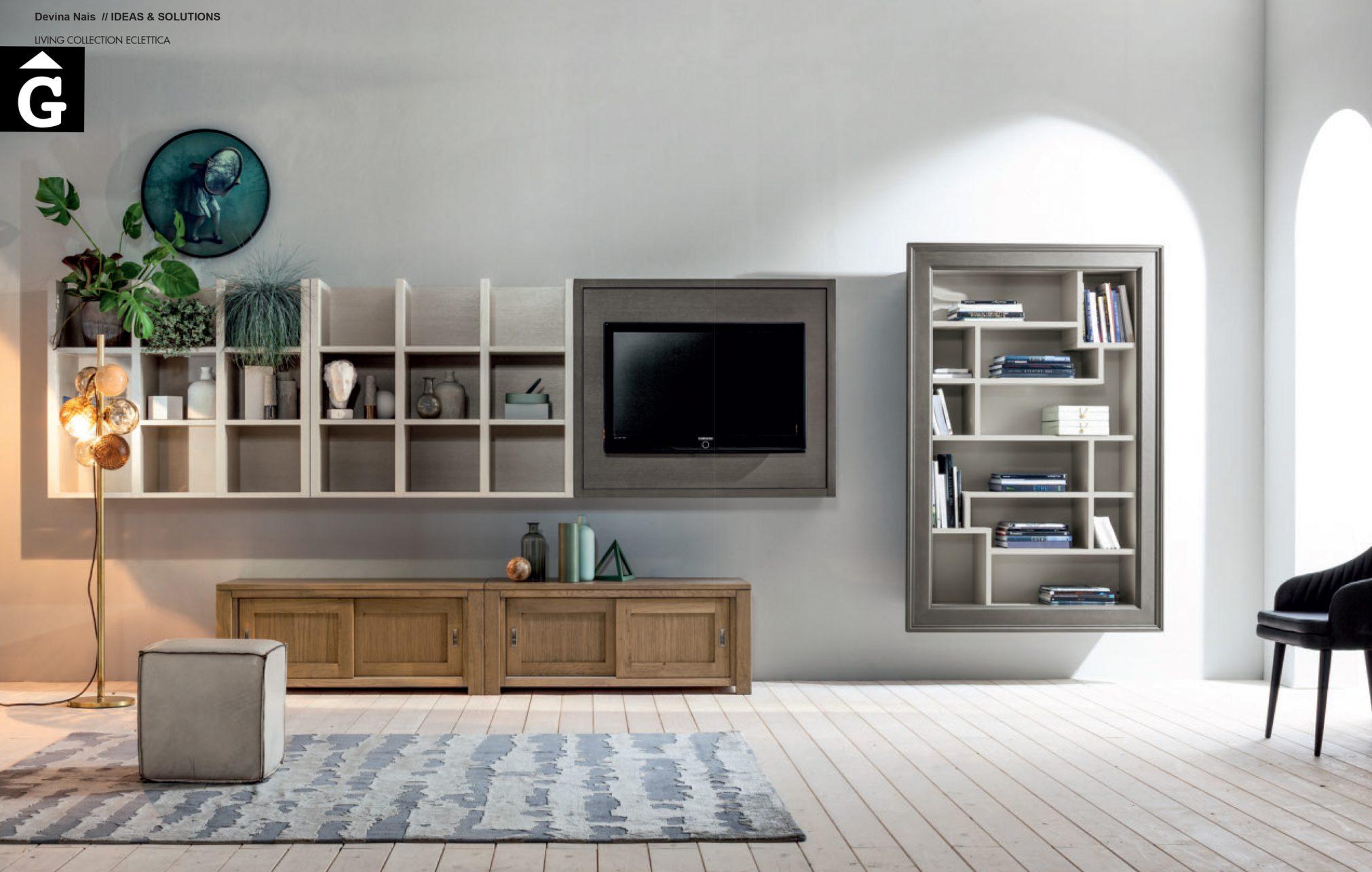 Moble massís roure Tv i llibreria Eclettica Devina Nais V2 by mobles Gifreu