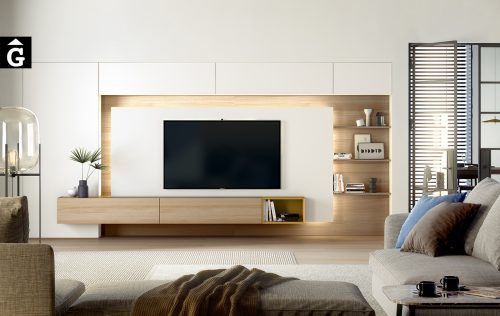Moble Tv blanc amb panel llum led ambient Area mobles Ciurans per mobles Gifreu programa modular disseny atemporal realitzat amb materials i ferratges de qualitat estil modern minimalista