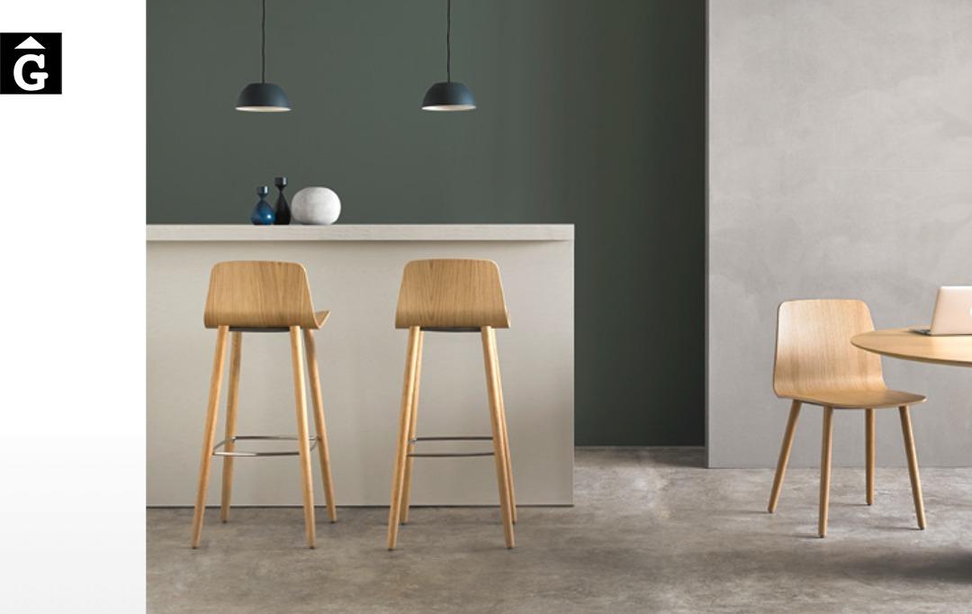 Tamboret Varya Wood potes fusta Inclass cadires tamborets i taules | mobles Gifreu