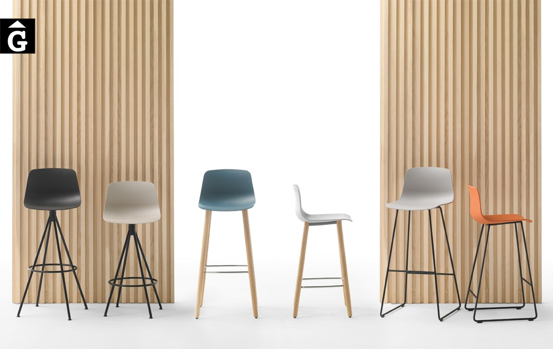 Tamborets Varya diverses possibilitats de peu | Inclass cadires tamborets i taules | mobles Gifreu