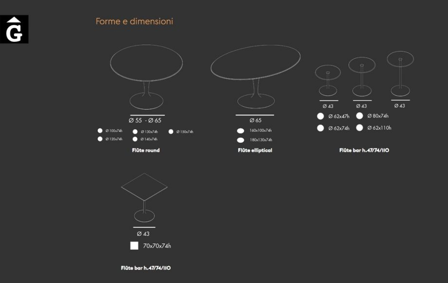 Taula peu central Flûte mides i opcions   Sovet   mobles Gifreu