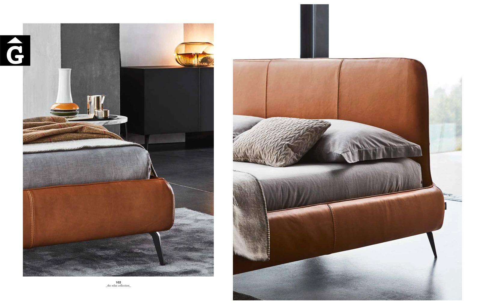 Llit entapissat Aris detalls pell - Ditre Italia llits entapissats disseny i qualitat alta by mobles Gifreu