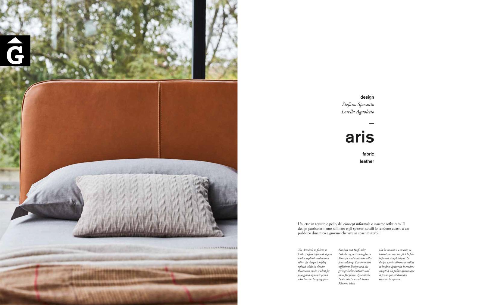 Lllit entapissat Aris detall capçal - Ditre Italia llits entapissats disseny i qualitat alta by mobles Gifreu