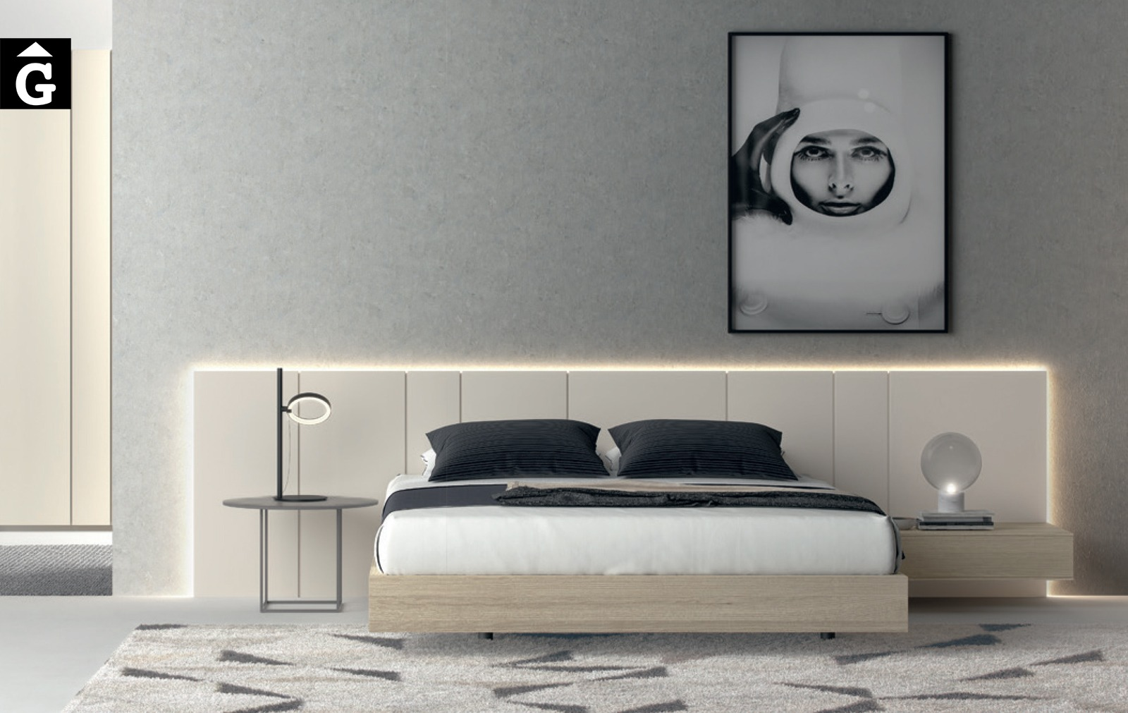 Habitació llit gran capçal panel llis Seven | Besform mobles Gifreu Girona qualitat i a mida