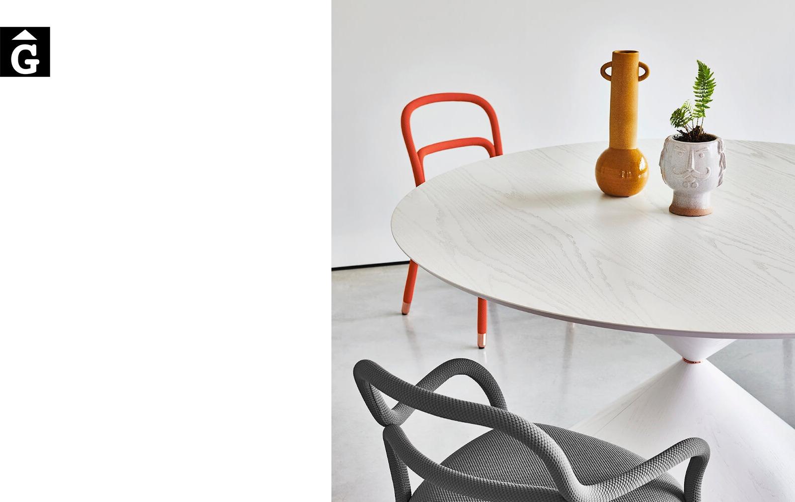 Taula Clessidra detall sobre xapa blanca | MIDJ | mobles Gifreu | Productes de qualitat