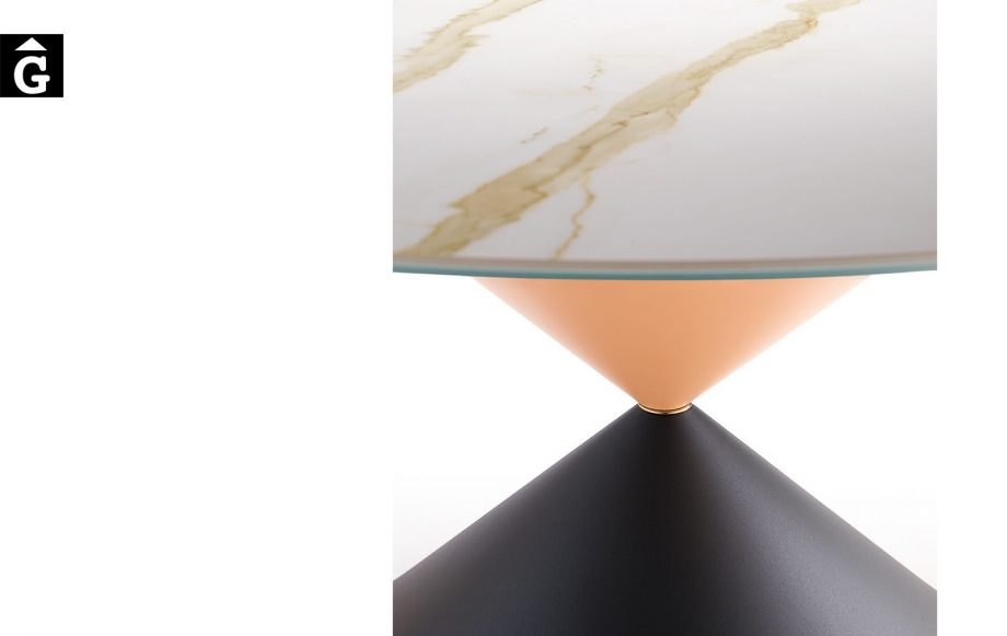 Taula rodona Clessidra detall diferents acabats | MIDJ | mobles Gifreu | Productes de qualitat