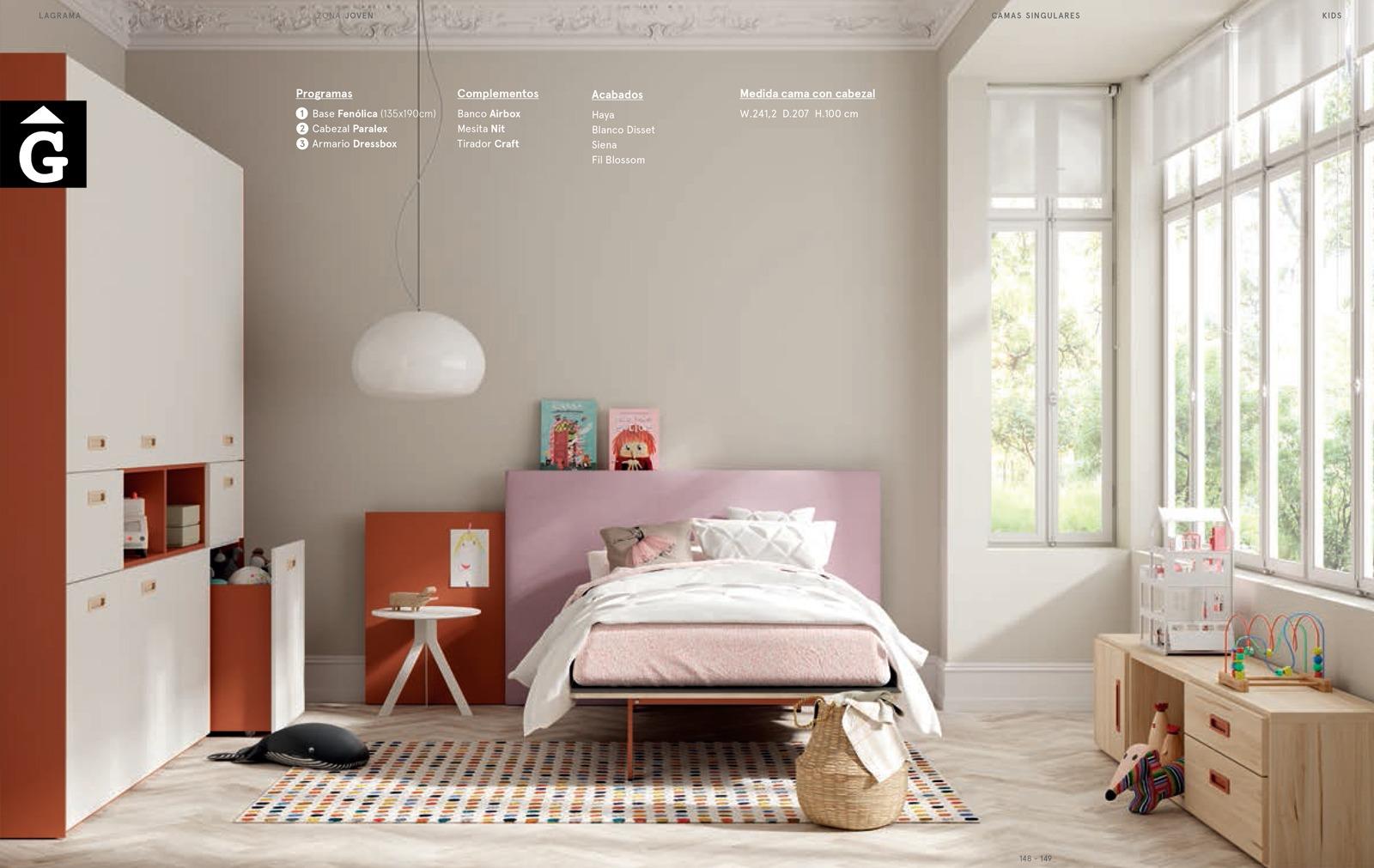 Habitació Juvenil Paralex tapissat I lagrama | mobles Gifreu