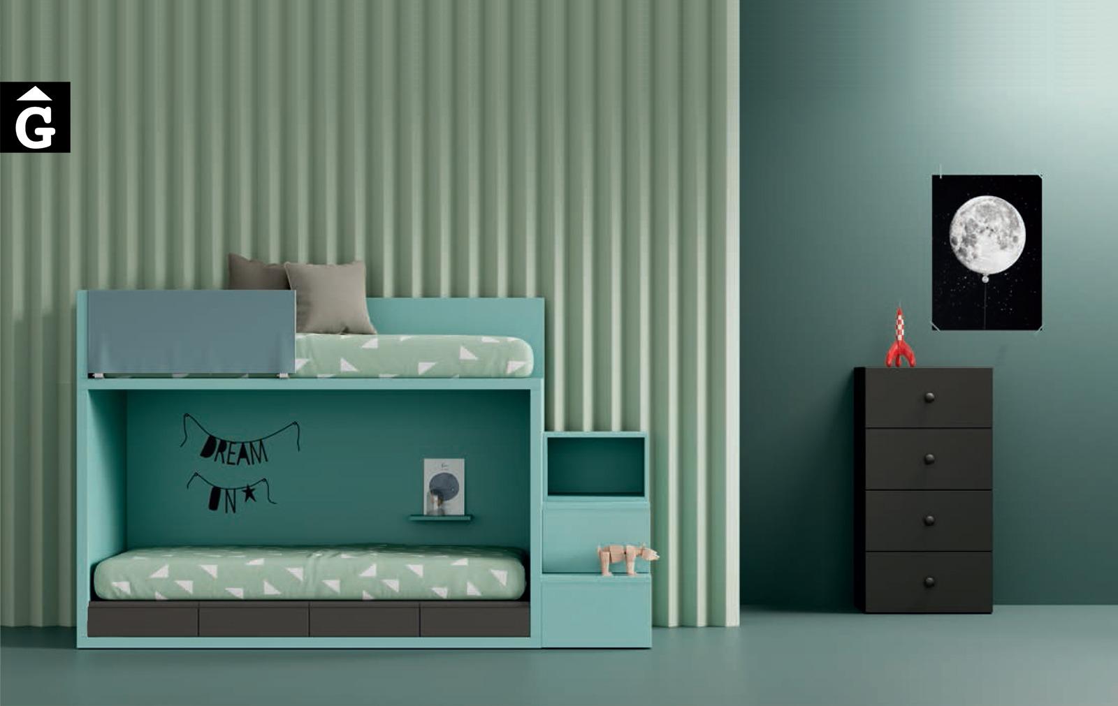 Habitació Juvenil amb llitera Cottage ambient verd I lagrama   mobles Gifreu