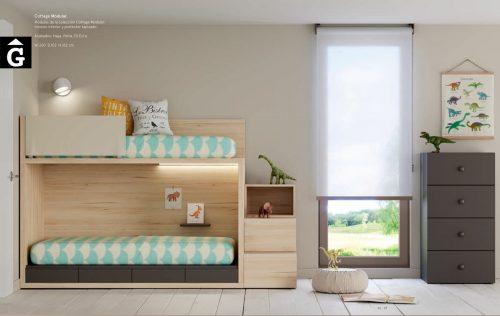 Habitació Juvenil llitera Cottage amb calaixos-escala I lagrama | mobles Gifreu